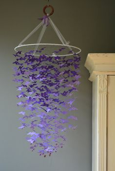 Butterfly mobile, chandelier (largest size) from ombre purple card stock --- Butterfly babyshower, handmade mobile or baby gift door…