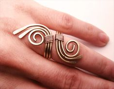 Wire Wrapped Brass and Copper Adjustable Ring  by GearsFactory, €14.00
