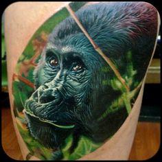 Realistic Gorilla Tattoo By Tater Tatts
