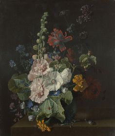 Hollyhocks and Other Flowers in a Vase Artist: Jan van Huysum Date made: 1702-20
