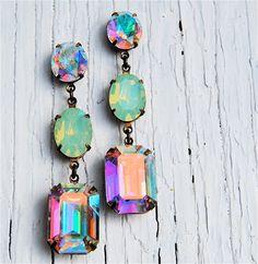Aurora Borealis Pacific opale Swarovski Vintage boucles d'oreilles