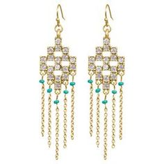 "Perfect for completing both office outfits and cocktail looks alike, these gold-plated chandelier earrings pair beads and crystals in an eye-catching Aztec-inspired design.    Product: Pair of earringsConstruction Material: Zinc, brass, glass stones, seed beads and steel chainColor: ClearFeatures:  Fish hookChain-link fringe Dimensions: 2.5"" H x .75"" W each"
