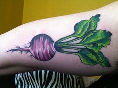 Beetroot vegetable tattoo (by Kelley Bayard). Still debating between a beet or radish?