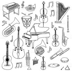 Find Hand Drawn Doodle Musical Instruments Classical stock images in HD and millions of other royalty-free stock photos, illustrations and vectors in the Shutterstock collection. Musical Instruments Drawing, Sketch Note, Music Worksheets, Primary Music, Music Pictures, Elementary Music, Music Classroom, Dance Art, Teaching Music