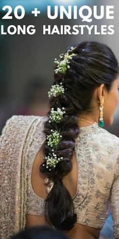 12 Pretty Hairstyles for women, Specially for Weddings . Indian Hairstyles For Saree, Saree Hairstyles, Plaits Hairstyles, Bride Hairstyles, Trendy Hairstyles, Wedding Reception Hairstyles, Bridal Hairstyle Indian Wedding, Bridal Hair Buns, Bridal Braids