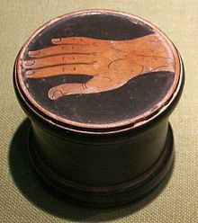 Athens Pyxis depicting a hand - Pyxis (vessel) - Wikipedia, the free encyclopedia Ancient Myths, Ancient Art, Pottery Painting, Pottery Art, Classical Greece, Show Of Hands, Greek Pottery, Black Figure, Greek Art