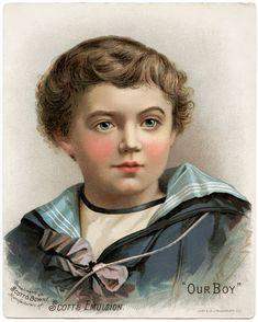 Old Design Shop ~ free digital image: Our Boy, Scott's Emulsion Victorian advertising card