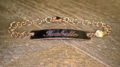 Personalized Engraved Bar Bracelet, Children's Engraved Bar Bracelet, CZ bezel Bar Bracelet, Child's ID Bracelet by HHartsockDesigns on Etsy