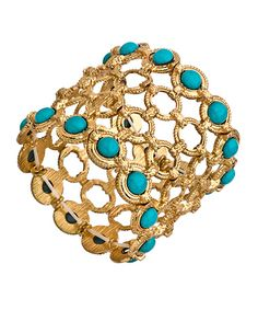 Blu Bijoux Gold Circle and Turquoise Stretch Link Bracelet