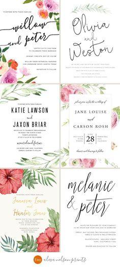 Rustic Wedding Invitations, Destination Wedding Invitations by Alexa Nelson Prints on Etsy