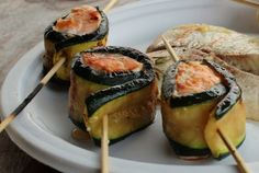 zucchini wrapped salmon cooked on the campfire