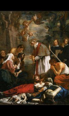 Hier zie je dat st marcarius van Gent hulp bied aan slachtoffers en dat past ook bij mijn gefotografeerde schilderij