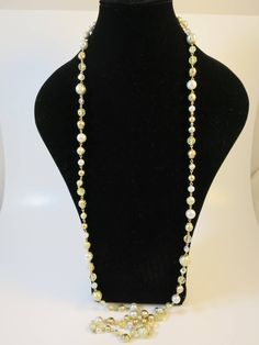 Vintage Gold White Bead Rope Necklace Gold Beads, Faux Pearls, AB Amber Beads, and AB Crystal Beads, 55 inches Swinging 1960s Necklace by BonniesVintageAttic on Etsy