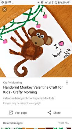 Super cute monkey hand art preschool craft - perfect for valentines day day crafts for kids to make Handprint Monkey Valentine Craft for Kids - Crafty Morning Kids Crafts, Valentine Crafts For Kids, Daycare Crafts, Fathers Day Crafts, Baby Crafts, Toddler Crafts, Holiday Crafts, Infant Crafts, Mothers Day Crafts For Kids