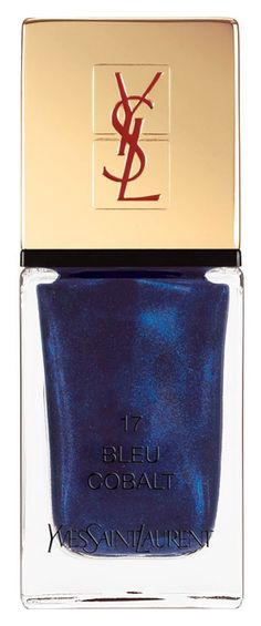 Jewel-toned nails are one of the season's biggest nail trends, and this metallic, shimmery cobalt blue Yves Saint Laurent nail lacquer is totally on-point for F/W '15.