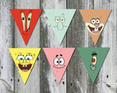 Spongebob Squarepants Bunting Banner INSTANT DOWNLOAD Printable