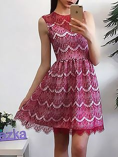 Sexy Scalloped Lace Patchwork Pleated Causal Dress