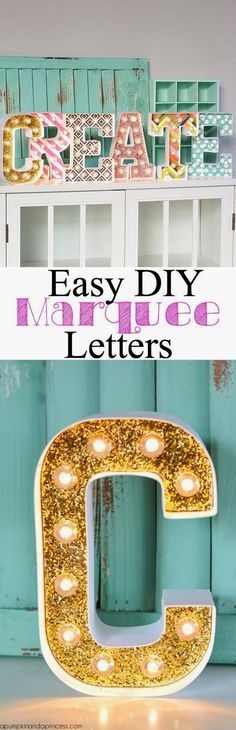 Craft Project Ideas: DIY MARQUEE LETTERS