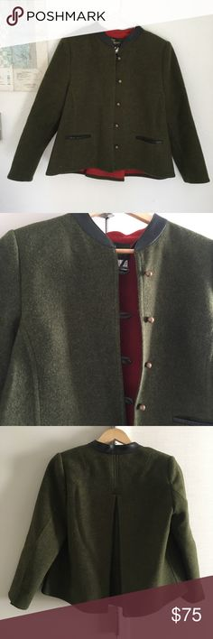 Vintage Resi Hammerer Sports Couture Jacket Wood buttons down front  Two front pockets  Extra button inside  Slightly padded shoulders  Neckline 100% Leather  Army green with black leather  100% Wool  Made in Austria  Red lining  1970's Sportcouture brand made in Austria.    ▪️No Pets  ▪️Non-Smoking home  ▪️Every item steamed throughly before shipped! Vintage Jackets & Coats Pea Coats