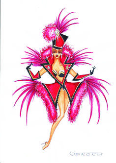 Show- Girl Fashion Illustration Sketches, Photo Illustration, Fashion Sketches, Carnival Inspiration, Costume Design Sketch, Las Vegas Shows, Circus Theme, Carnival Costumes, Fashion Plates