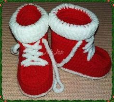 Crocheted Christmas / New Year booties for babies! #Handmade #Boots