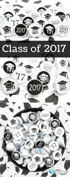 Add these Black and White Class of 2017 Graduation Party Favor Stickers to a Hershey's Kiss for a simple and easy party favor or table decoration!  #classof2017