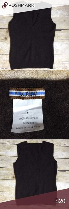 """J. Crew Cashmere Sweater 100% Cashmere. Pit to pit 15"""". Collar to hem 21"""". Could be boys or ladies small.  Color is a deep brown. J. Crew Sweaters V-Necks"""