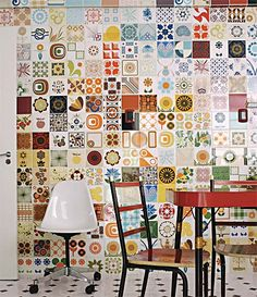 This could be done with crochet motifs for one of the studio walls Art on the walls - Home