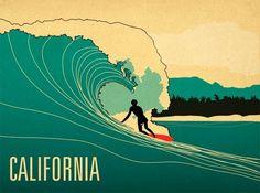 Resultado de imagem para retro surfer illustration
