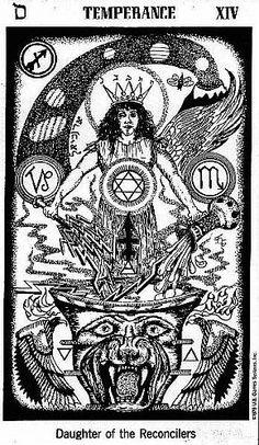 Temperance card from the Hermetic Tarot Deck Tarot Card Decks, Tarot Cards, Carl Jung, Hermetic Tarot, Tarot Meanings, Tarot Major Arcana, Joker, Oracle Cards, Sacred Geometry