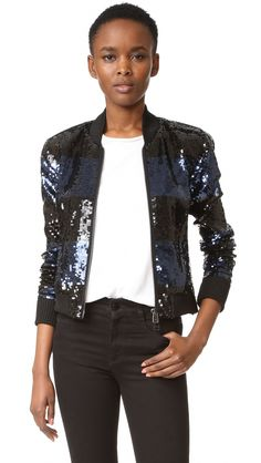 ¡Cómpralo ya!. Veronica Beard Lexington Bomber Jacket - Black/Blue. Glossy, two tone sequins give this Veronica Beard bomber jacket a festive, dressy update. Snug ribbing cinches the edges. 2 way zip placket. Long sleeves. Lined. Fabric: Beaded chiffon. Shell: 95% polyester/5% elastane. Lining: 91% silk/9% elastane. Dry clean. Imported, China. Measurements Length: 20.5in / 52cm, from shoulder Measurements from size 4. Available sizes: 6 , chaquetabomber, bómber, bombers, bomberjacke…
