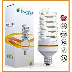 iHikaru LED Light Bulb New Spiral Corn 90% Energy Saving 30 Watt Equivalent 250 Watt Daylight White up to 6000K No Radiation No Flicker Eye Eco Friendly Easy To Install E27 Base For Outdoor Indoor - - Amazon.com