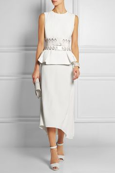 Alexander McQueen peplum top, Chloe skirt, Alaïabelt, Giuseppe Zanotti shoes, Victoria Beckham bag