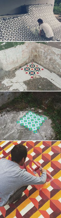 New Spray Painted Tile Floor Patterns in Abandoned Buildings by Javier De Riba