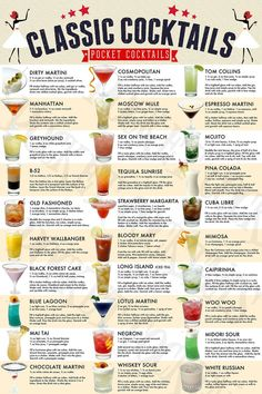 Menu Cocktail, Cocktail Gifts, Cocktail Ideas, Cocktail Book, Mixed Drinks Alcohol, Alcohol Drink Recipes, Mixed Drink Recipes, Top Mixed Drinks, Frozen Mixed Drinks
