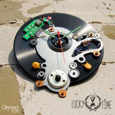 "Wall Clock ""LuckyTime"" by ""Copper Cat Art Group""/Cyberpunk / Bracket clock / Techno / Home retro decor"
