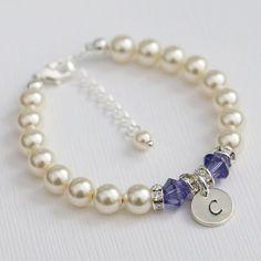 Flower Girl Bracelet  Made with Genuine Swarovski pearls, Swarovski bicone crystals, silver plated rhinestone spacers and sterling silver