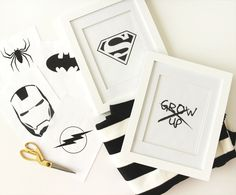 Black and White Superhero Art | Raising your kids as nerds starts as early as…