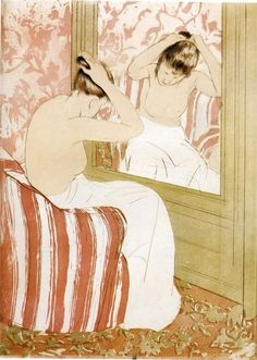 "'The Coiffure,' Mary Cassatt, 1891, color print with drypoint and aquatint, part of the exhibition ""Daring Methods: The Prints of Mary Cassatt"" at the New York Public Library."