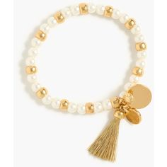 J.Crew Bead and tassel stretch bracelet ($18) ❤ liked on Polyvore featuring jewelry, bracelets, evening jewelry, stretch jewelry, tassel jewelry, beaded bangles and j crew bangle