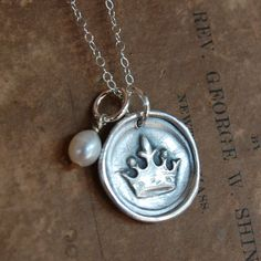 Hand stamped wax seal CROWN charm necklace by wonderfullyhandmade, $32.00
