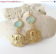 Sand Dollar Earrings, Aqua Earrings, beach wedding jewelry by Aina Kai