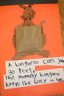 Kangaroo/Australia project. We would use sentence strips for the sentence, and a larger kangaroo to fit the pocket. Cute.