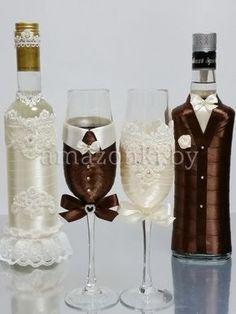 Украшение свадебных бокалов «Пара» | Агентство Амазонки