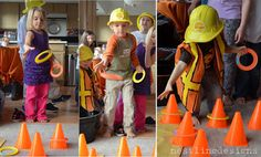 construction party games: cone ring toss, stop sign freeze dance, dump truck bean bag toss by simone Birthday Activities, Birthday Party Games, Birthday Fun, Birthday Ideas, Party Activities, Digger Birthday, Birthday Banners, Birthday Invitations, Construction Party Games