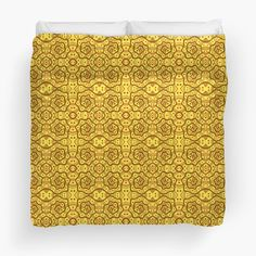Helices, yellow & brown abstract pattern Duvet Covers  by Clipsocallipso Worldwide shipping  Brown helices and dots on shining yellow background. Seamless abstract hand drawn arabesque pattern.   © Clipso-Callipso / Julia Khoroshikh  #yellow #brown #yellowandbrown #helices #arabesque #pattern #abstract #curves #patterndesign #clipsocallipso #printshop #textiledesign #apparel  #yellowaesthetic #redbubble   #homedecor #supportartist  #duvetcover #bedroom #bedroomdecor