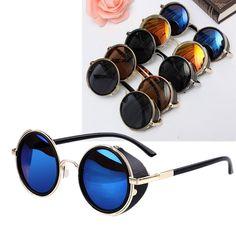 Unisex Vintage UV400 Sunglasses Steampunk Round Mirror Lens Glasses - Banggood Mobile