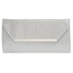 Glint Metallic Envelope Clutch (190 RON) ❤ liked on Polyvore featuring bags, handbags, clutches, bolsas, accessories, silver, evening handbags, evening hand bags, pocket purse and envelope clutch