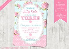 Shabby chic birthday invitation princess garden tea party shabby chic birthday invitation princess garden tea party vintage birthday invitation tea party floral lace pink shabby chic party shabby filmwisefo