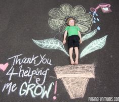 Teacher Appreciation Gift or Mother's Day Gift. -chalk drawing